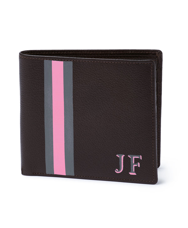 Espresso Monogram Stripe Leather Billfold Mens Wallet