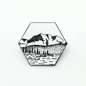 Hexagon Mountains Enamel Pin