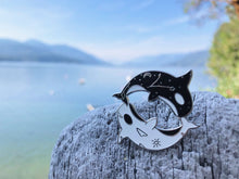 Load image into Gallery viewer, Yin and Yang Orcas Pin