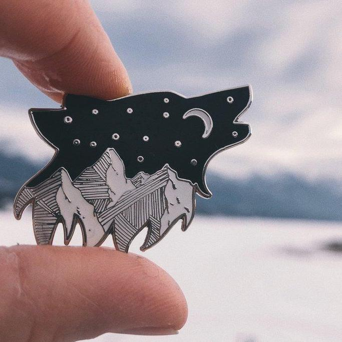 Starry Night Wolf Pin