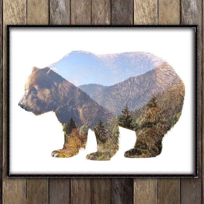 Mountainous Grizzly Print