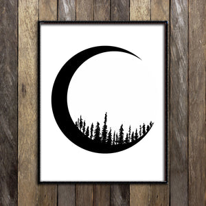 Forested Moonlight Print