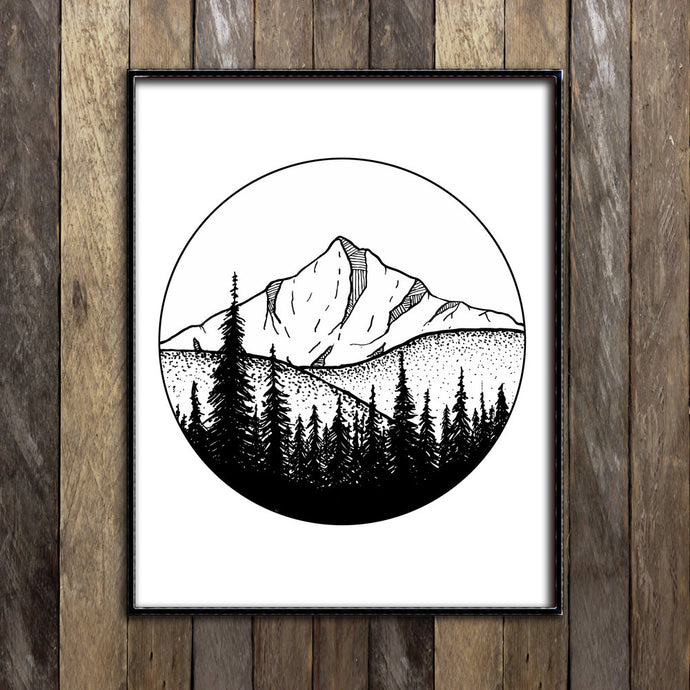 Mountains in Circle Print
