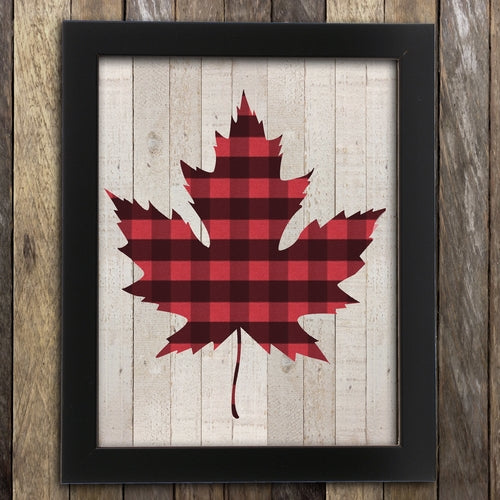 Plaid Maple Leaf Print