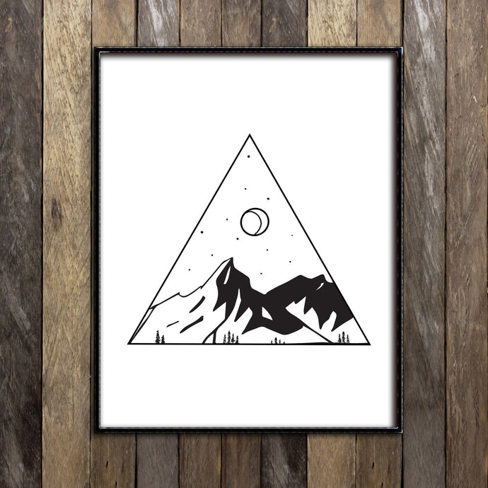 Mountains in Triangle Print