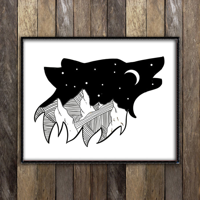 Night Sky in Wolf Print