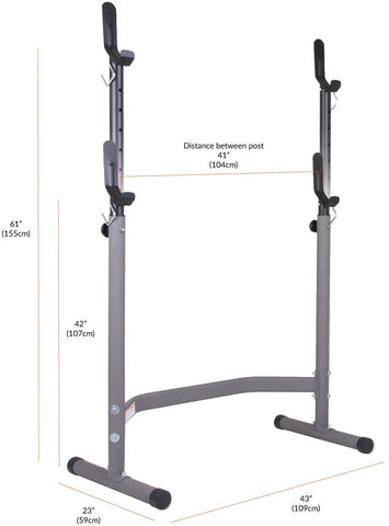 Body Champ BCB3780 Olympic Weight Bench with Leg Extension Curl Lift Developer Attachment / 2 piece Combo Bench and Squat Rack Stand - body flex sports
