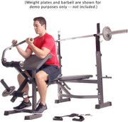 Body Champ BCB5860 Olympic Weight Bench with Preacher Curl, Leg Developer and Crunch Handle - body flex sports