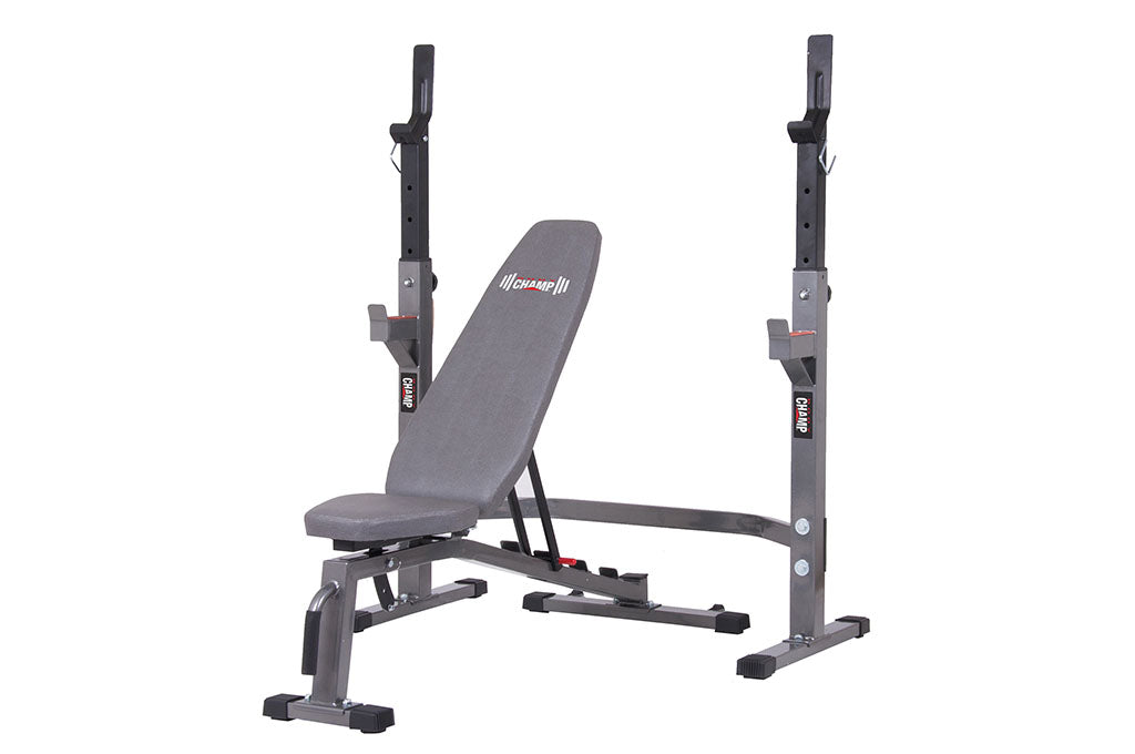 Body Champ PRO3900 Two Piece Set Olympic Weight Bench with Squat Rack - body flex sports