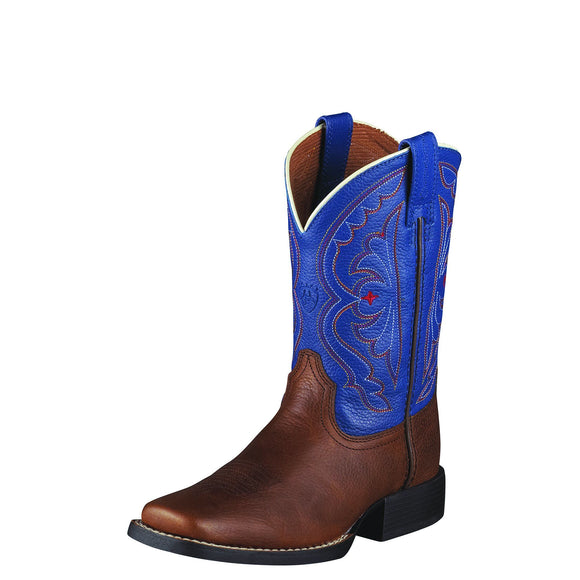 Ariat Youth Quickdraw Western Boots Brown Oiled Rowdy/Royal Blue