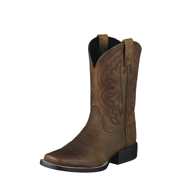 Ariat Youth Quickdraw Western Boots Distressed Brown
