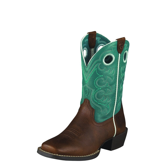 Ariat Kids Crossfire Western Boot Brown Oiled Rowdy