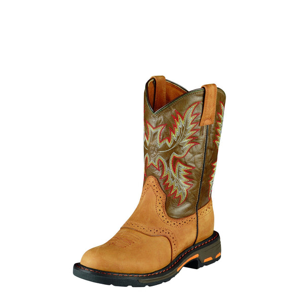 Ariat Youth WorkHog Pull On Aged Bark/Army Green Work Boots