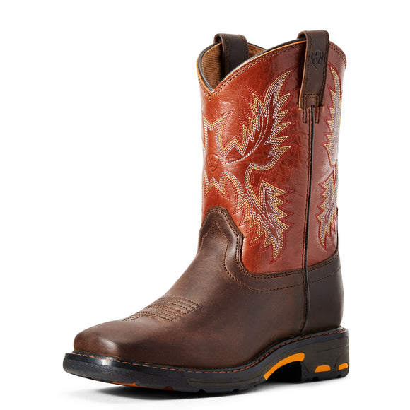 Ariat Youth WorkHog Wide Square Dark Earth/Brick Western Boots