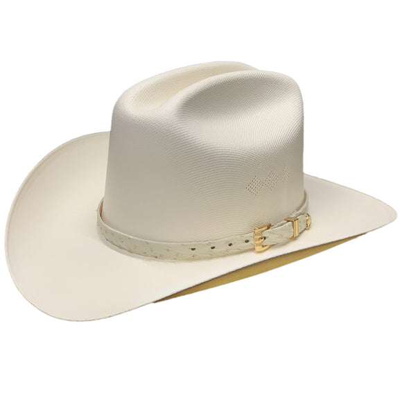 Tombstone 1000x Johnson Classic Cattleman Western Hat White Ostrish Band