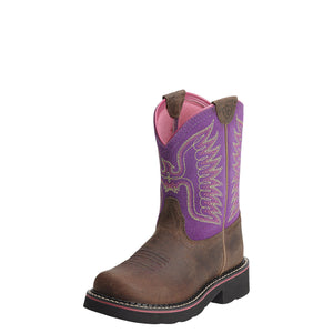 Ariat Youth Fatbaby Thunderbird Powder Brown/Amethyst Western Boots