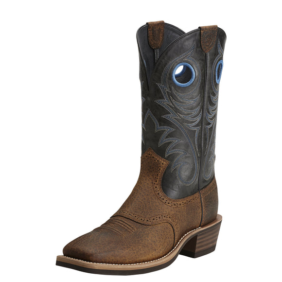 Ariat Mens Heritage Roughstock Wide Square Toe Western Boot Earth