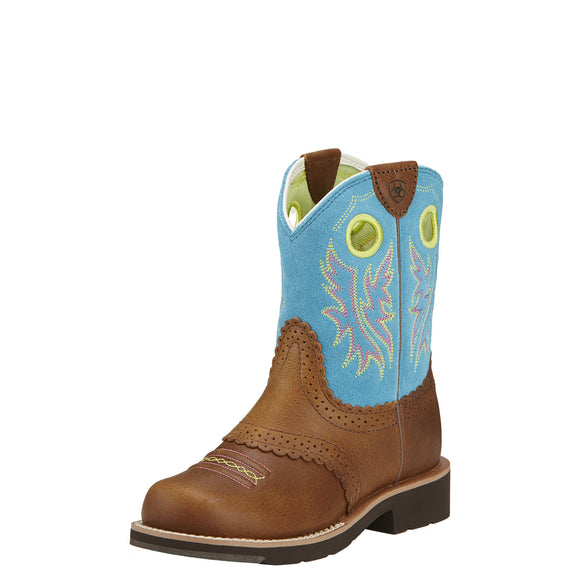 Ariat Youth Fatbaby Cowgirl Back Country Tan/Burt Blue Western Boots