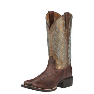Ariat Womens Round Up Wide Square Toe Western Boot Yukon Brown