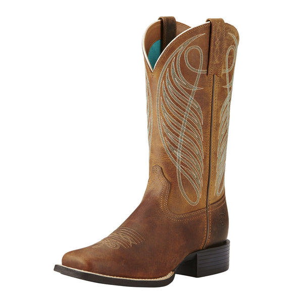 Ariat Womens Round Up Wide Square Toe Western Boot Powder Brown
