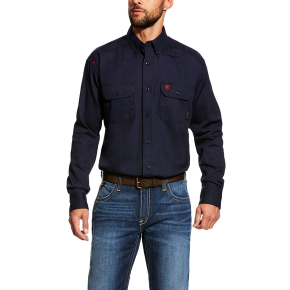 Ariat Mens Fr Solid Work Shirt Navy
