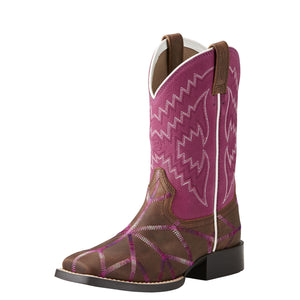 Ariat Kids Twisted Tycoon Western Boot Distressed Brown/ Plum Pink