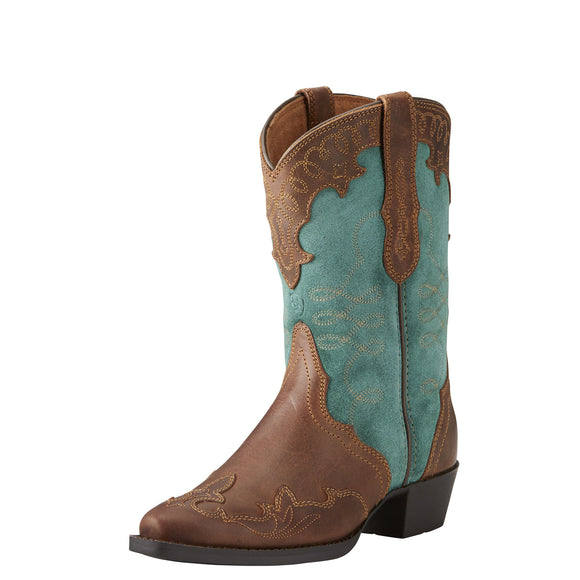 Ariat Youth Zealous Distressed Brown/Teal Suede Western Boots