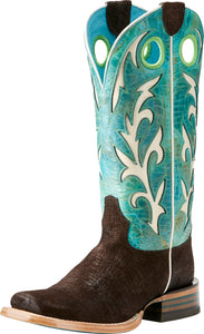 Ariat Womens Chute Out Choc Hippo Print/Sea Western Boot