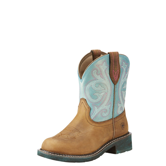 Ariat Womens Fatbaby Heritage Western Boot Distressed Brown/Shimmer Turquoise