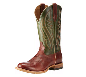 Ariat Mens Match Up Cowboy Western Boot Cognac and Neon Lime