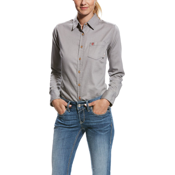 Ariat Womens Fr Basic Work Shirt Silver Fox