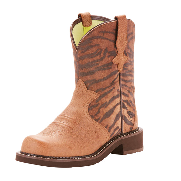 Ariat Womens Fatbaby Heritage Trio Western Boot Tan/Vintage Tiger