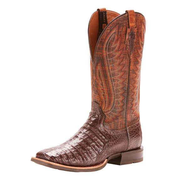 Ariat Mens Double Down Western Boot - 10025088 -  ANTIQUE PECAN CAIMAN BELLY
