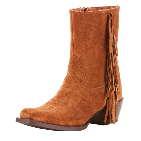 Ariat Girls Youth Leyton Western Boot Powder Brown Suede