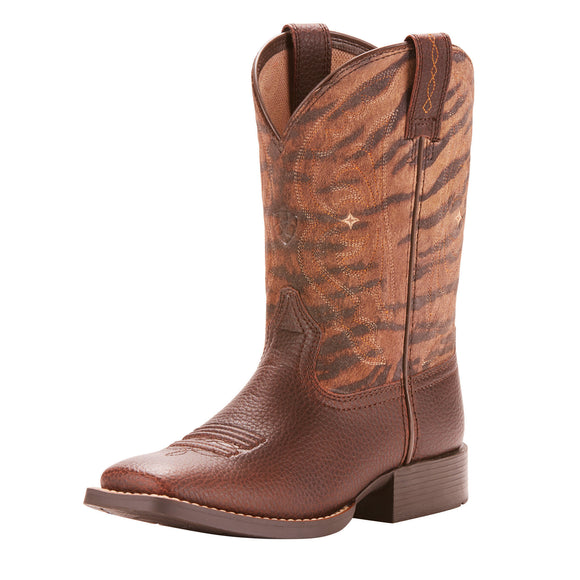 Ariat Youth Quickdraw Western Boots Pebbled Pinecone/Vintage Tiger