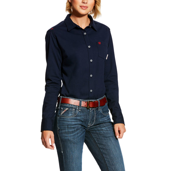 Ariat Womens Fr Taylor Knit Work Shirt Navy