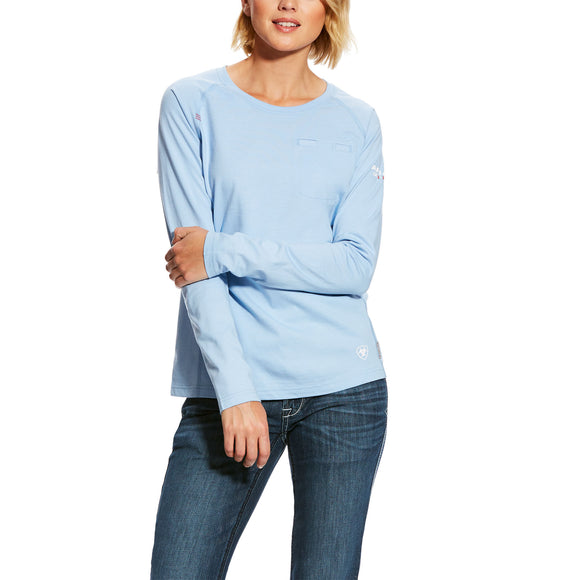 Ariat Womens Fr Air Crew T-Shirt Cerulean Sea