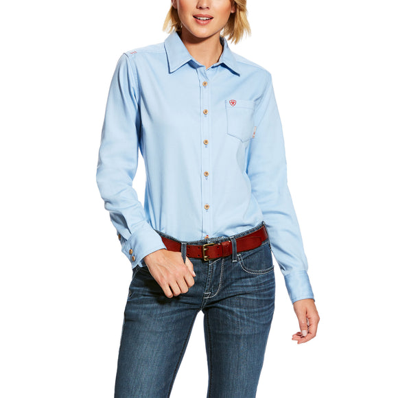 Ariat Womens Fr Basic Work Shirt True Blue Sky