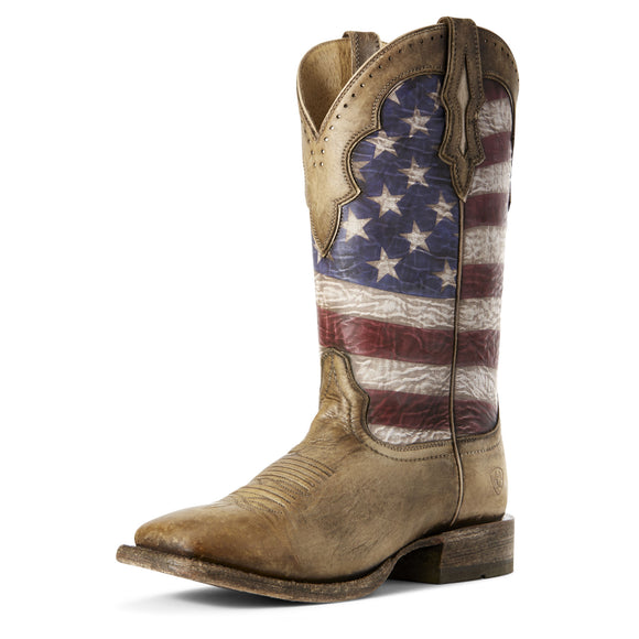 Ariat Mens Ranchero Stars And Stripes Western Boot Naturally Distressed Brown