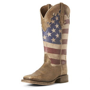 Ariat Womens Ranchero Stars And Stripes Western Boot Naturally Brown