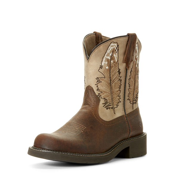 Ariat Womens Fatbaby Heritage Feather Western Boot Dark Buffalo Brown