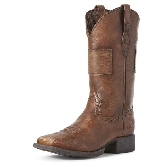 Ariat Womens Round Up Patriot Western Boot Silly Brown