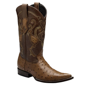 Cuadra Men's Ostrich Chihuahua Pointed Toe Boots - Honey - RR Western Wear, Cuadra Men's Ostrich Chihuahua Pointed Toe Boots - Honey