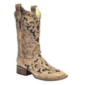 Corral Ladies Stingray Inlay Wide Square Toe Boots - RR Western Wear, Corral Ladies Stingray Inlay Wide Square Toe Boots