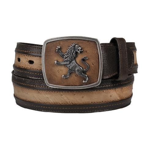 Cuadra Men's Lion Buckle Ostrich Belts - RR Western Wear, Cuadra Men's Lion Buckle Ostrich Belts
