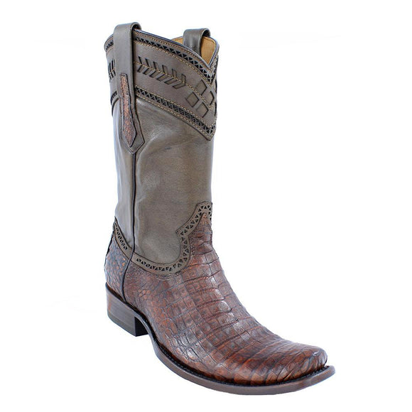 Cuadra Men's Lumber Bone Caiman Belly Boots - Semi Square Toe - RR Western Wear, Cuadra Men's Lumber Bone Caiman Belly Boots - Semi Square Toe