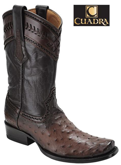Men's CUADRA Boots Ostrich Flame Brown Semi-cuadrada - 1J30A1