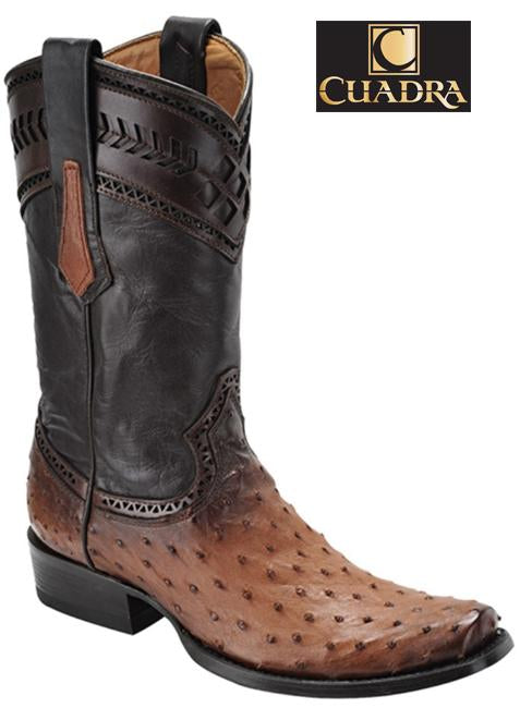 Men's CUADRA Boots Ostrich Flame Honey Semi-cuadrada - 1J30A1