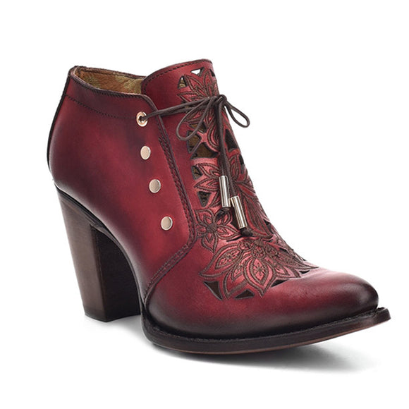 Womens CUADRA Laser Floral Cut Bovine Leather Ankle Bootie Red