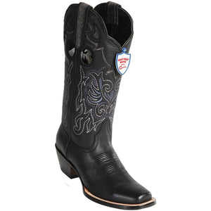 Wild West Boots Womens Genuine Leather Wild Rodeo Western Boots Color-Black